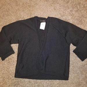 New Ann Taylor Black Cropped Open Cardigan Medium